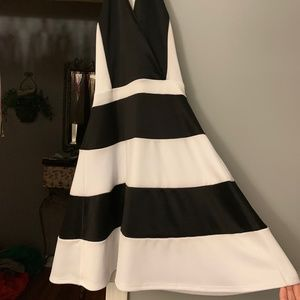Charlotte Russe Black/White Striped Dress